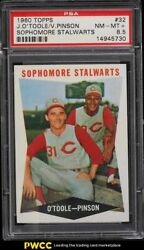 1960 Topps Jim O'toole And Vada Pinson Sophomore Stalwarts 32 Psa 8.5 Nm-mt+