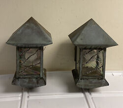 Pair Vtg Copper Arts Crafts Style Iridescent Glass Porch Patio Sconce Light Lamp