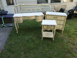 Dixie French Provincial Cream Vintage Bedroom Furniture Set 4 Pieces