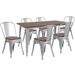 Modern 30.25 X 60 Silver Metal Table Set W/wood Top And 6 Stack Chairs