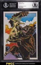 King Kong Pteranodon Sketch Card By Raymond Lowell 1/1 Bas Bgs Auth