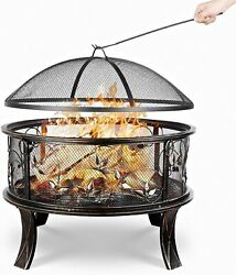 Patio Fire Pit Bowl And Bbq Grill Round Patio Fire Large Outdoor Fire Pit Yard New