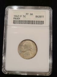 1942-p 5c Proof Jefferson Nickel Anacs Pf66 Type 2 Silver Old Holder