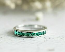 2.5ct Princess Cut Green Emerald Channel Set Engagement Ring 14k White Gold Over