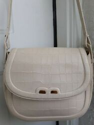 BENE Off White Ivory Leather Crossbody Bag Made In Italy Designer Purse $99.89