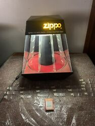 """Vintage Rare 18"""" Zippo Lighter Lighted Rotating Counter Store Display Case-key"""
