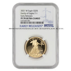 2021-w 25 Eagle Ngc Pf70ucam Early Releases Ultra Cameo 1/2 Oz Gold Proof Coin