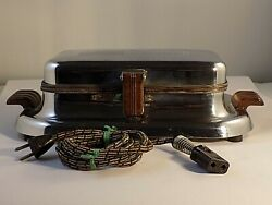 Vintage General Electric 149g37 Waffle Iron Chrome - Works Great Very Clean