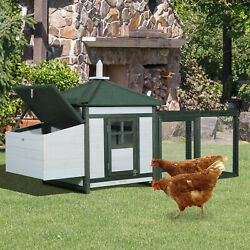 Large 77and039and039 Chicken Coop Wooden House Small Animal Cage Habitat Backyard W/ Run