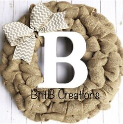 Burlap Wreath For Front Door With Initial, Farmhouse Custom Year Round