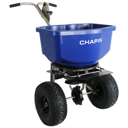 Chapin Salt Spreader 100 Lbs. Capacity Pneumatic Tires Stainless Guillotine Gate