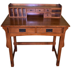 Crafters And Weavers Amish Mission Solid Oak Desk With Organizer, Library Table