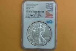 2018-w Burnished Silver Eagle Ngc Ms 70 Mike Castle Hand Signed Ace Verified