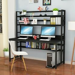 Home Office Student Desk Computer Table Bookcase Scombination One Table W/shelf