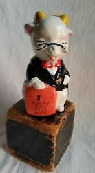 Vintage Japan Ceramic Goat Piggy Bank Tails And Bow Tie ☆home Sweet Home☆rare