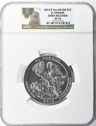 2012-p Early Releases 5oz Silver Atb El Yunque America The Beautiful Ngc Sp70