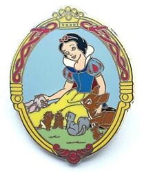 Vintage Disney Snow White And Forest Friends Rare Htf Cast Lanyard Pin
