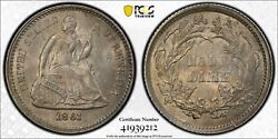 Usa United States Seated Unc Half Dime Silver Coin 1861 Year Km91 Pcgs Ms64