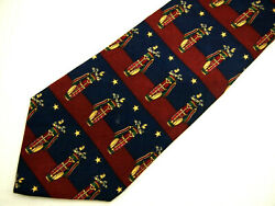 Tommy Hilfiger Mens Necktie Tie Red Gold Bags Clubs Navy Blue Striped Silk 58quot; $9.74