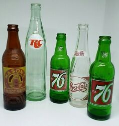 5 Vintage 1950and039s-60and039s Pepsi 76 Rc Cola Masons Root Beer Acl Soda Bottles Nice