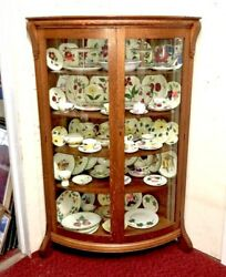 Antique American Oak Double Curved Bowed Bent Glass Corner China Cabinet Curio