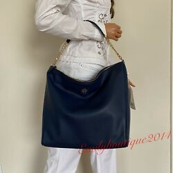 NWT TORY BURCH CARTER SLOUCHY ROYAL NAVY BLUE LEATHER HOBO SHOULDER BAG $495 $229.00