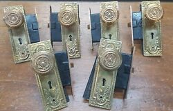 Set Of 6 Ornate Victorian Brass Mortice Lock Sets With Knobs And Back Plates
