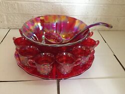 Extremely Rare Mosser Glass Ruby Red Carnival Glass Punch Bowl W/ Ladle And Cups