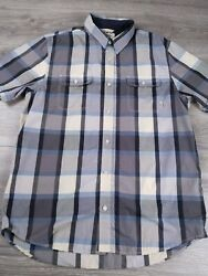Vans Off The Wall Blue Gray Check Button Down Short Sleeve Shirt Men#x27;s Large