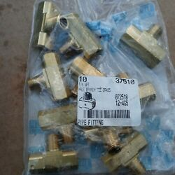 1/4 Npt Male Branch Tee Fitting Brass Pack Of 10 37510