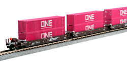 N Kato 106-6195 Bnsf Set Gunderson Maxi-well Cars W/containerspink One 238693
