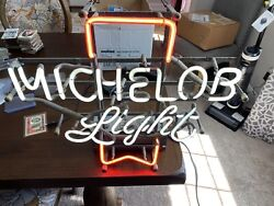 Vintage Bar 20 X 19 High Michelob Light Table Top/hanging Neon Beer Sign