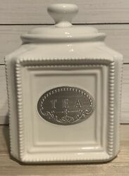 Thl Classic Farmhouse Tea Canister French Country Shabby Chic Beaded Silver