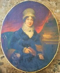 Antique 18th Century Oil On Canvas Paintings Portrait Of A Lady's