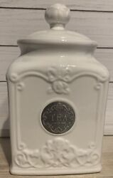 Thl Classic Farmhouse French Chic Rose Top Tea Canister W/lid Silver Emblem