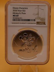 Mickey Mouse And Pluto 1 Oz 999 Fine Silver Coin Niue 2020 2 Disney Ngc Ms69