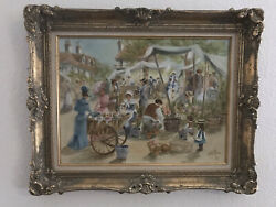 """The Flower Cart By Rusty Money '81 Signed Original Oil Painting On Canvas 31x25"""""""