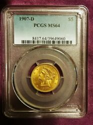 Antique 1907-d 5 Liberty Gold Piece Pcgs Ms-64 Graded Monster Luster Very...