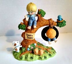 Vintage 1981 Enesco Country Cousins Katie And Scooter On The Tree Rare