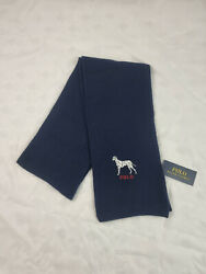 Polo Menand039s Embroidered Dalmatian Dog Scarf Navy One Size Pc0388-433