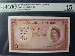Cyprus Lot P-35a 1956 1 Pound Pmg Xf 45 Rare Year Add Collection