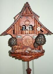 Vintage Cuckoo Clock Made In Germany Black Forest With Music, 17x15x8