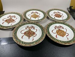 American Atelier At Home Handpainted Christmas Ornaments 8 1/4 Inch Plates Set 5