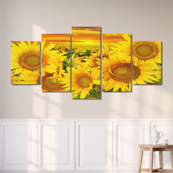 5Pcs Unframed Sunflowers Wall Art Painting Print Canvas Picture Home Room Decor