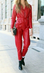Women Real Leather Catsuit Red Leather Jumpsuit High Waist Leather Overall Dress