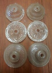 3 Pairs Of Vintage Boudoir Vanity Bedside Table Lamps - Pressed Glass- Lot Of 6