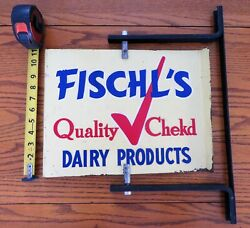 Vintage Original Fischl's Dairy Products Spinning Metal Sign With Bracket