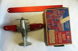 Vintage Kiddie Toy By Hubley Navy Fighter Scale Model Plane No 467 With Box