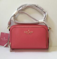NWT Kate Spade Staci Dual Zip Around Leather Crossbody Small Bag in Garden Pink $89.98