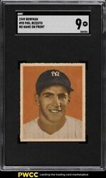 1949 Bowman Phil Rizzuto No Name On Front 98 Sgc 9 Mint